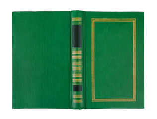 empty open green book cover isolated on white