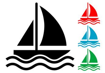 Pictograma barco velero con varios colores