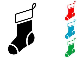 Pictograma calcetin de navidad con varios colores
