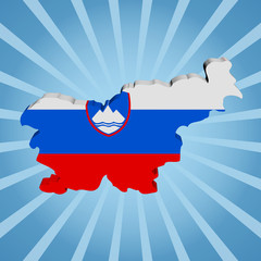 Slovenia map flag on blue sunburst illustration