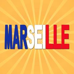 Marseille flag text with sunburst illustration