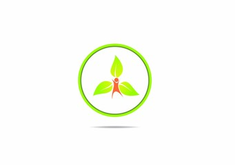 people leaf circle green ecology vector logo