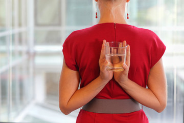 fit business woman with glass of water - healhy lifestyle
