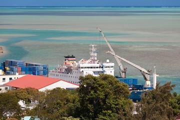 bateau à quai à Port-Mathurin, île Rodrigues