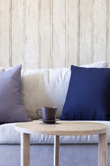 Living room Sofa with Pillows Coffee and Table