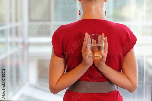 canvas print picture fit business woman with glass of water - healhy lifestyle