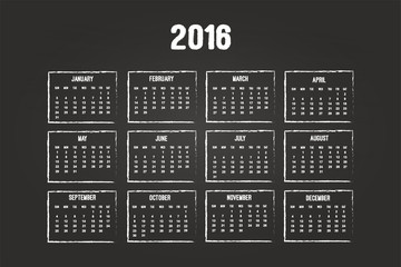Calendar Of Year 2016 On Blackboard