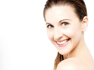 Face of beautiful woman with clean fresh skin