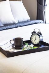 Coffee Breakfast set in Bedroom with Alarm clock