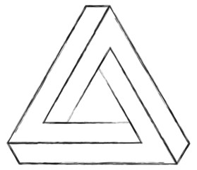 Optical Illusion Triangle Sketch On White