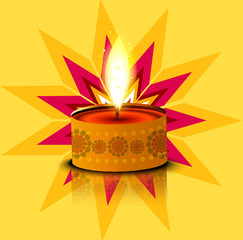 Vector glowing Diwali Diya Oil Lamp celebration colorful design