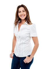 Beautiful middle aged woman in trendy outfit