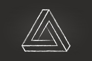Optical Illusion Triangle Sketch On Blackboard