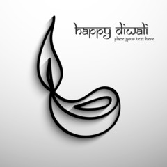 Happy diwali diya artistic colorful gray design card vector