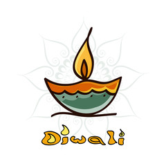 Beautiful Diwali diya art element vector background