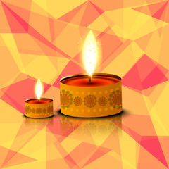 Beautiful card Happy diwali diya reflection colorful background