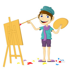 Cute Smile Painter Cartoon