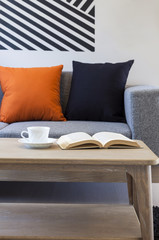 Living room with sofa pillows coffee book and wooden table