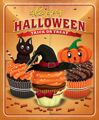 Vintage Halloween poster design with cupcakes