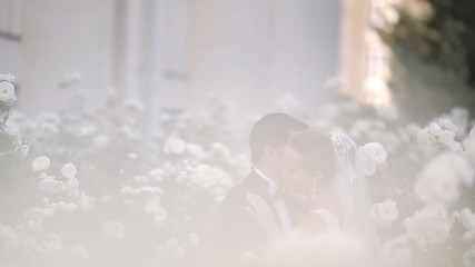 Young newlyweds are in place filled with love, tenderness and