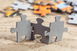 Three Jigsaw Puzzle Pieces on Table - 71813246