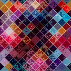 Grunge diagonal mosaic pattern.