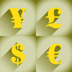 Euro, Dollar, Pound and Yen in flat style
