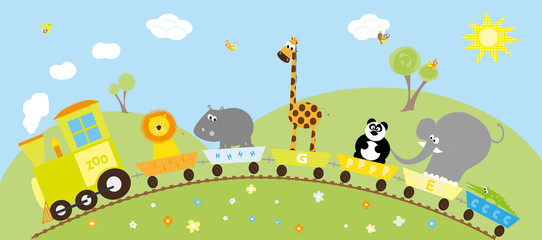 animals train, birds and hills - vector illustration