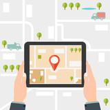Mobile gps navigation. Man holding a tablet