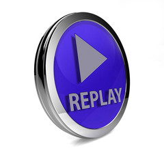 Replay circular icon on white background