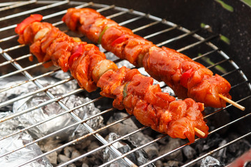 Charcoal barbecue ribs and kebabs.