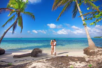 man and woman - honeymoon on tropical island