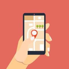 Mobile gps navigation. Hand holding smartphone
