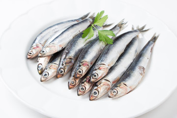 Fresh anchovies in a dish