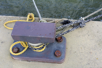 Place to anchor ropes on the quay