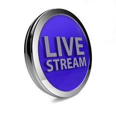 Live stream circular icon on white background
