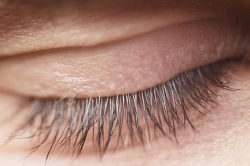 Human close eye