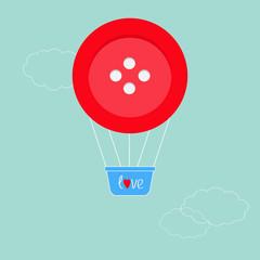 Big red button hot air balloon Dash line clouds Flat design