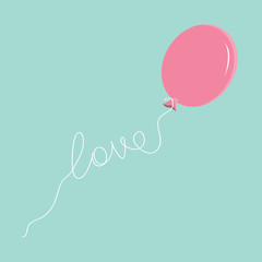 Pink oval balloon with love thread Flat design
