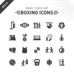 Boxing icons set.