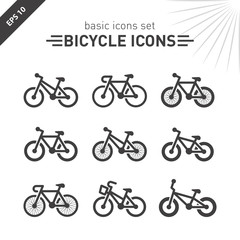 Bicycle icons set.