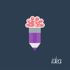 Pencil with brain Business Idea concept. Flat design.