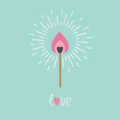 Burning love match fire light shining Love  Flat