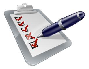 Survey clip board and pen icon