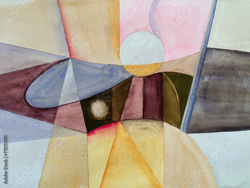 Fototapety, obrazy : a modernist abstract watercolor