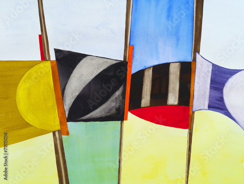 a modernist abstract watercolor Poster