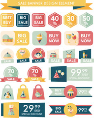 Birthday sale banner design flat background set, eps10
