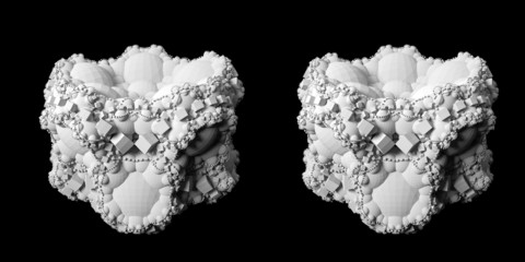 Solid 3D fractal stereo pair.