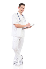 Male nurse taking a note