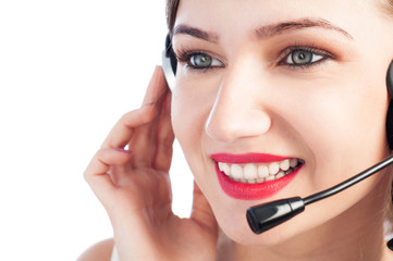 Contact woman face with headphones.